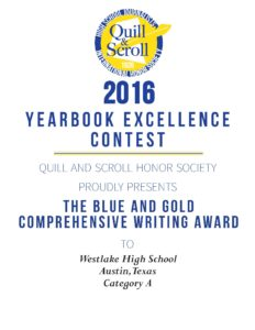 2016 Blue and Gold YB Writing Westlake