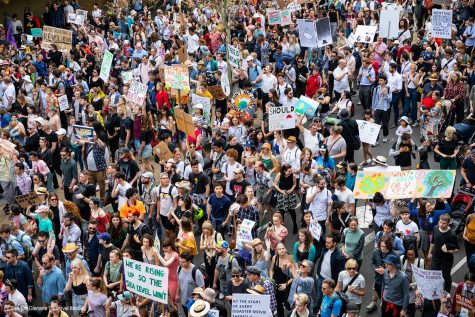 Thousands of protestors gather in solidarity for the Global Climate Strike, Sept. 20, 2019.